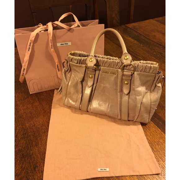 e89aa6c79ba6 Handbags - Miu Miu by Prada Gathered Vitello Lux Pink